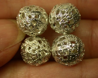 VINTAGE Silver Plated ORNATE FILIGREE 11mmx10mm  Round Beads pkg4 m46