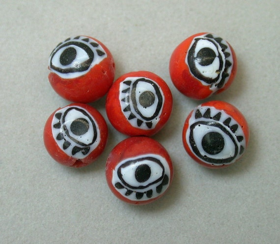 Vintage Glass Beads Venetian RED BLACK Millefiori EYES 8.5mm pkg6 eye8
