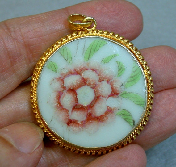 ANTIQUE Qing CHINESE Pendant Pink Flower Porcelain ps4