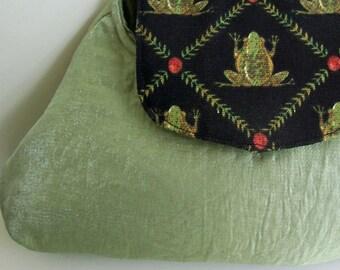 Green Clutch Handbag , Clutch Purse , Frog Purse , Fabric Handbag , Pocketbook , Hand Bag , Gift for Her , Celery Green Purse