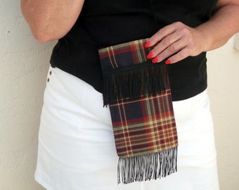SALE Fringe Purse , Small Plaid Cross Body Purse , Shoulder Sling Bag , Juniors Teen , Hippie Styling , Holiday Gift for Her