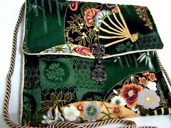 Sling Bag , Shoulder Bag , Cross Body Purse , Cross Body Bag  , Cute Small Across Body Emerald Green Fans Purse - Asian Oriental  Long Strap