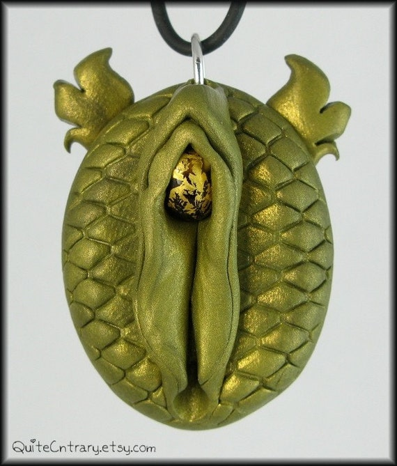 Vagina Pendant . Serpentina the Magical Fire Breathing Dragon . OOAK Sculpt with Lampwork Glass Clitoris . Erotic Art . Mature