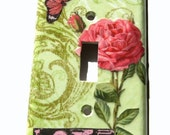 Reduced Price Pink Rose and Butterfly Live Love Collage Art Nouveau Light Switch Cover CIJ