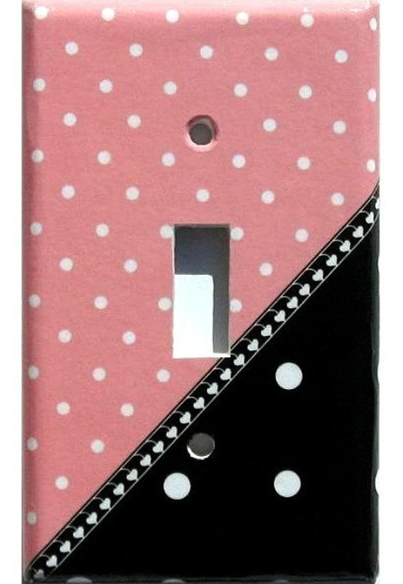 Polka Dots Pink Black White Light Switch Plate Cover