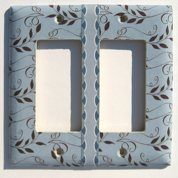 Brown Leaves Blue Double Light Switch Covers Rocker Decora (LR3)