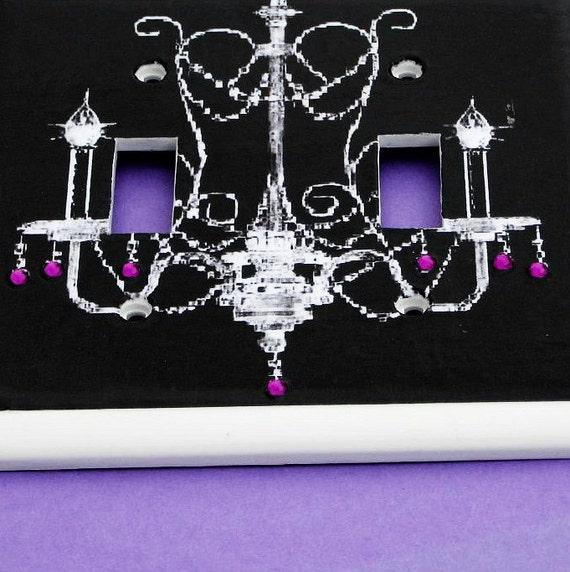 Chandelier Purple Rhinestones Double Light Switch Cover Violet Room Decor Black Background (LP3)