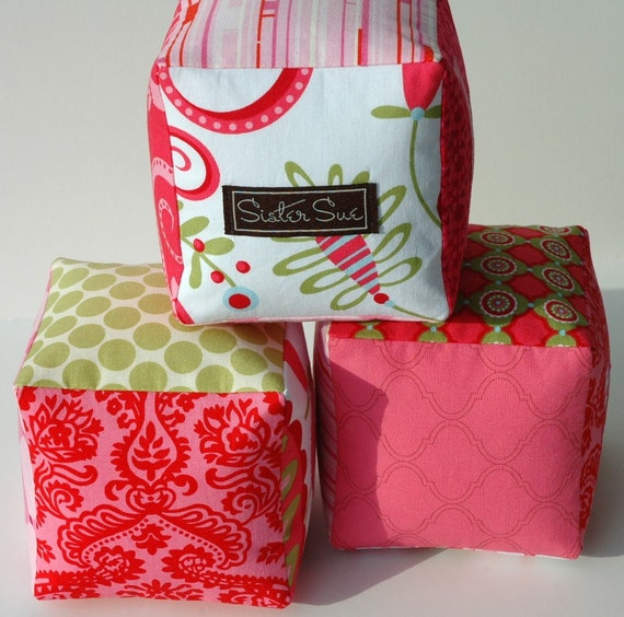 Pretty in Pink Cloth Play Blocks (Set of 3)