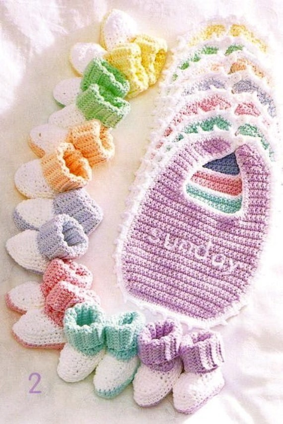 Crochet Baby Overall Patterns : Crochet Baby Bibs Booties Sets New Pattern Booklet