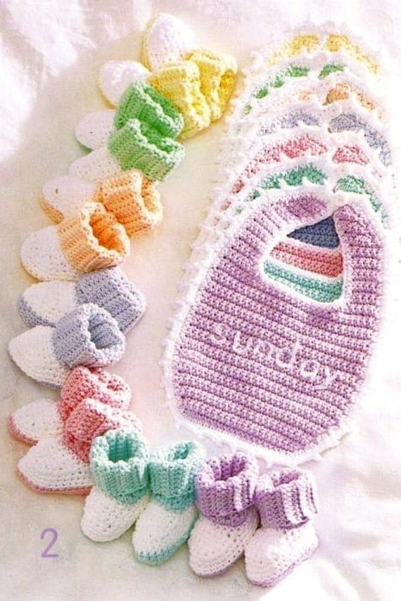 Crochet Baby Bib Patterns : Crochet Baby Bibs Booties Sets New Pattern Booklet