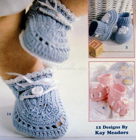 Crochet Cotton Baby Booties Pattern : Thread Crochet Baby Booties by the Dozen Patterns New Book