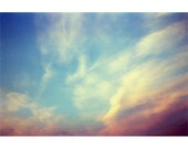 Sunset Photograph,  Cloud Sky Landscape, Turqoise , Dark Orange Wall Decor