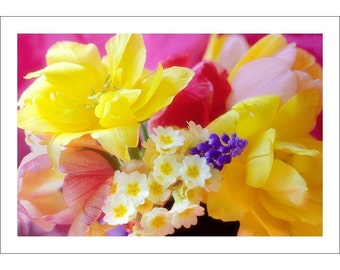 Spring Flowers Card, Photo Card, Blank Greeting Card, Mothers Day Card, Tulip, Primrose