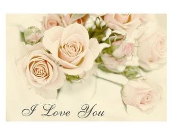 Valentine, Pink Rose Bouquet, Fine Art Photograph Note Card