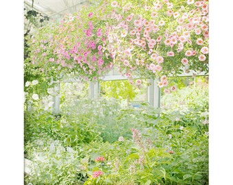 Floral Art Print, Garden Print, Impressionism, Pink Green Wall Art, Pastel Decor, Flower Wall Art, Bedroom Decor
