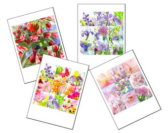 Flower Photo Card Set, Four Blank Cards, Flower Mosaic, Mother's Day Cards