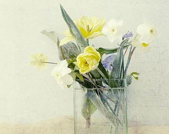 Spring Bouquet Photograph,   Fine Art Floral Print, Tulip Art,  Daffodil Print, Yellow White Wall Decor, Cottage Chic Decor