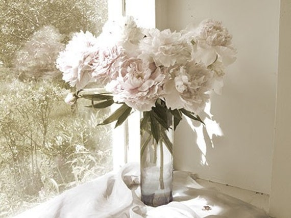 Peony Photograph, Vintage Inspired ,  Flower Bouquet,  Floral Art Print, Romantic French Country Home