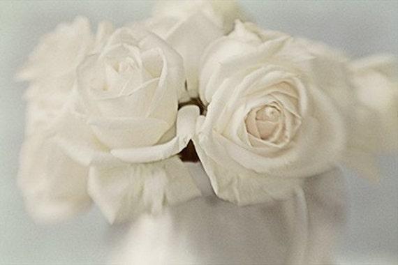 White Rose Photography, Floral Art Print, Shabby Chic Wall Decor,  Wedding Decor, Rose Wall Art, Rose Print