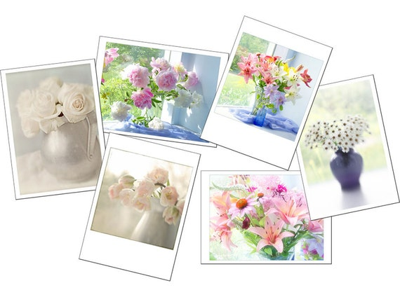 Greeting Card Set, Six Flower Photo Cards, Lily, Peony, Tulip, Rose, Daisy Blank Cards