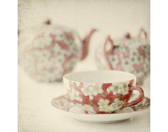 Tea Cup Still Life Photograph,  French Country,  Shabby Chic  Decor, Japanese Tea Set Photo