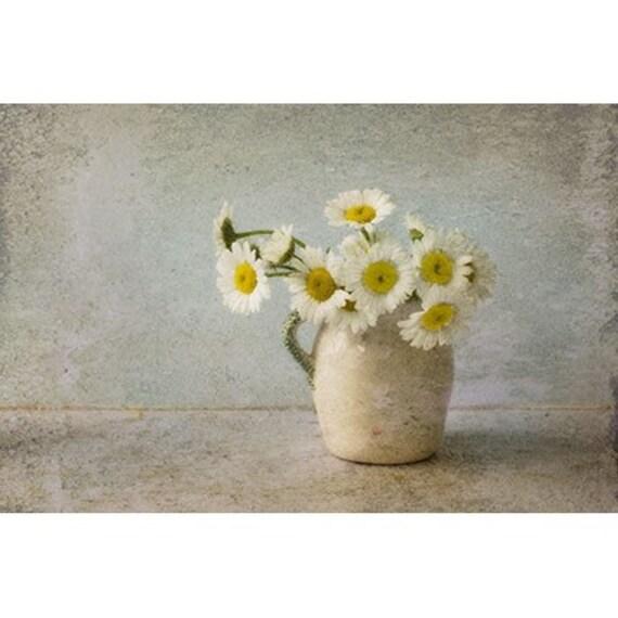 White Daisy Photograph, Still Life  Jug of Daisies,  Floral Art Print,  Flower Photo,  Rustic Wall Decor
