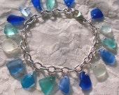 Aqua Blue Seaglass Sterling Silver Bracelet