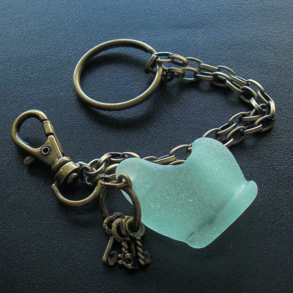 SALE - Seaglass Bottlelip and Key Charm Key Ring