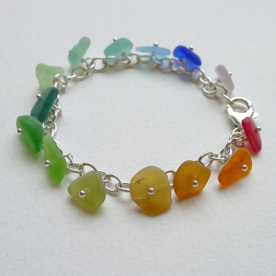 Sea Glass Bracelet - vivid rainbow seaglass dangles