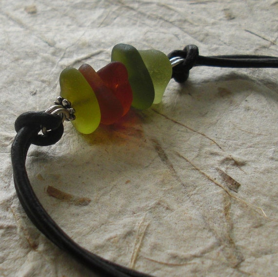 Fall in Love - Seaglass Stack Leather Cord Bracelet in Autumn Colors