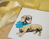 Dachshund with Bow -- 20 Letterpressed Cards