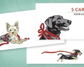 MIX AND MATCH - 5 Letterpressed Dog and Cat Cards of your choice