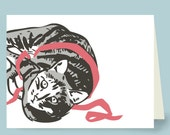 6 Grey Tabby Cat with Pink Ribbon Cards