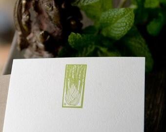 Green Fennel Letterpressed Flat Panel Card Set (6 cards)