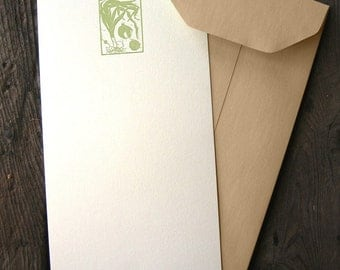 Leek, Onion, and Garlic Letterpressed Flat Panel Card Set (6 cards)
