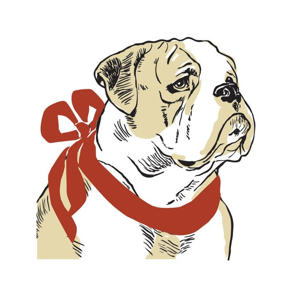 Bulldog with Ribbon: 5 Letterpressed Notecards