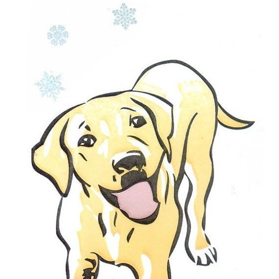 Holiday Letterpressed Notecards-- Yellow Lab (5 cards)