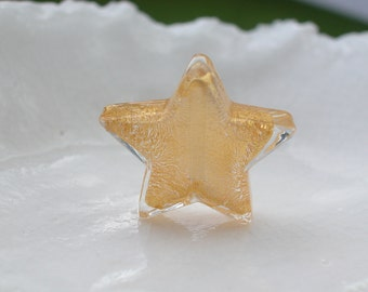 22mm Murano Crystal Gold  Star Bead