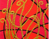 """ACEO Nr. 16  Abstract Pattern... original painting, acrylic on paper, 2,5""""x 3,5"""", 6,4 x 8,9 cm, pattern, abstract, red, fantasy"""