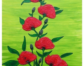 """Poppies... original painting, collage, 23.6x15.7"""", 40x60 cm, acrylics, wood, flower, flora, nature, fantasy"""