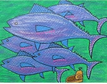 "The Drama of the Tunas... original painting, 7.1x4.9"", 18x12,5 cm, gouache, acrylic, paper, fish, sea, ocean, destruction, fantasy"