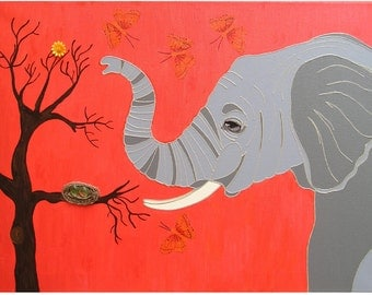 "Alfons found a nest... original painting, 27,5""x19,7"", 70 x 50 cm, collage, acrylic painting, canvas, glass, flower, fantasy, elephant"