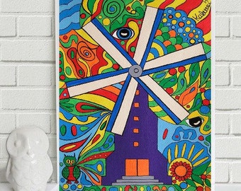 """Purple Windmill in Wonderland... original painting, 6.5x8.9"""", 16,5x22,6 cm, acrylics, paper, windmill, nature, abstract, surreal, fantasy"""