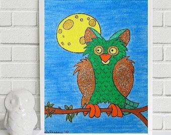 "Handsome Alfred - the Owl... original painting, 4,1""x 5,8"", 10,5 x 14,8 cm, gouache, ink, paper, bird, owl, fantasy"