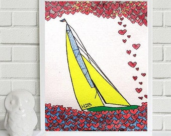 """Love Journey..... original painting, pencil on paper, 4,7"""" x 6,7"""", 12 x 17 cm, abstract, fantasy, boat, valentine, hearts"""