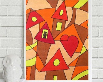 """Small Owl in big City.... original painting, gouache on paper, 4,1""""x5,8"""",10,5 x 14,8 cm, abstract, owl, city, houses, fantasy"""