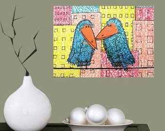 """Mum and Dad in Town.... original painting, acrylics on paper, 7,1""""x4,7"""", 18 x 12,5 cm, raven, bird, animal, fantasy"""