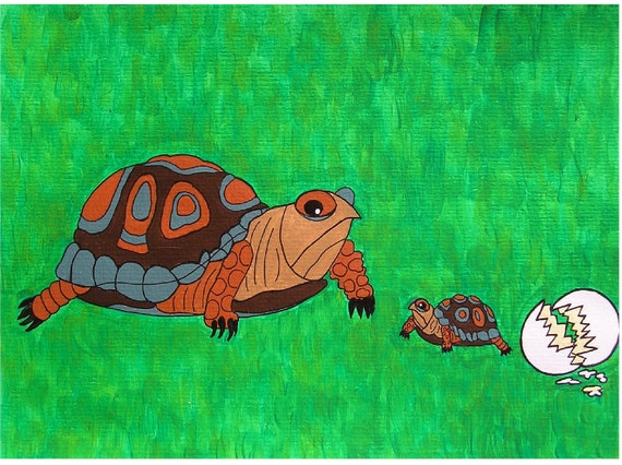 "An apple doesn't fall far from the tree... original painting, acrylic on paper, 9,4""x 6,7"", 24 x 17 cm, tortoise, reptile, nature, fantasy"