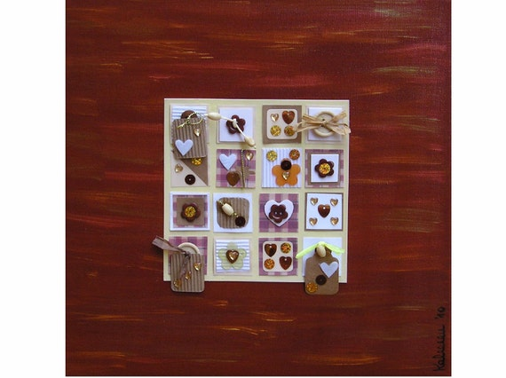 """Inchie Collage Chocolate... Sales, original inchie collage, 118x11.8"""", 30x30 cm, acrylic, canvas with wedge frame, fantasy"""