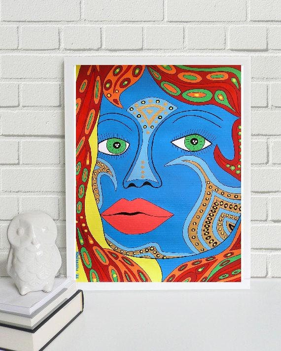 "Tatu - the Remarkable.... original painting, acrylic colours on paper, 13x9,1"", 33x23 cm, female, face, abstract, expressive"